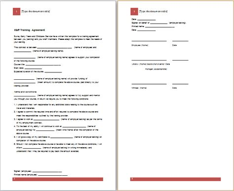 Training Agreement Template Word Excel Pdf Templates