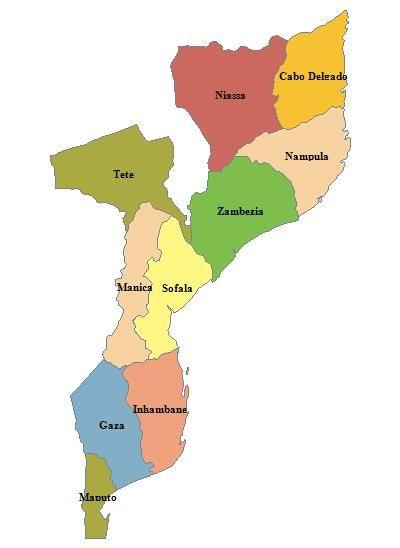 Mozambique Geografiske Kort Over Mozambique Dansk Encyklopaedi