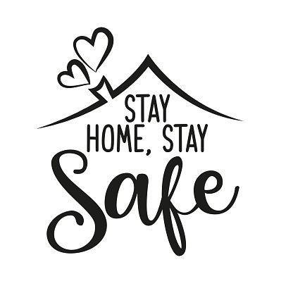 Stay Home Stay Safe Tulisan Hiasan Tulisan Dinding Lukisan Kain