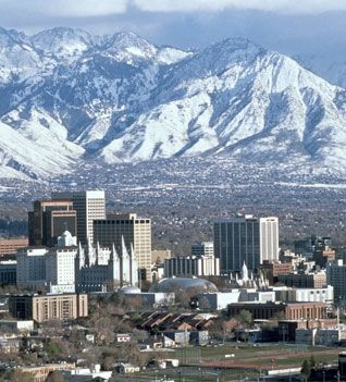 Salt Lake City, Utah - sets in large valley between two mountain ranges, the Wasatch on the east and the Oquirrhs to the west