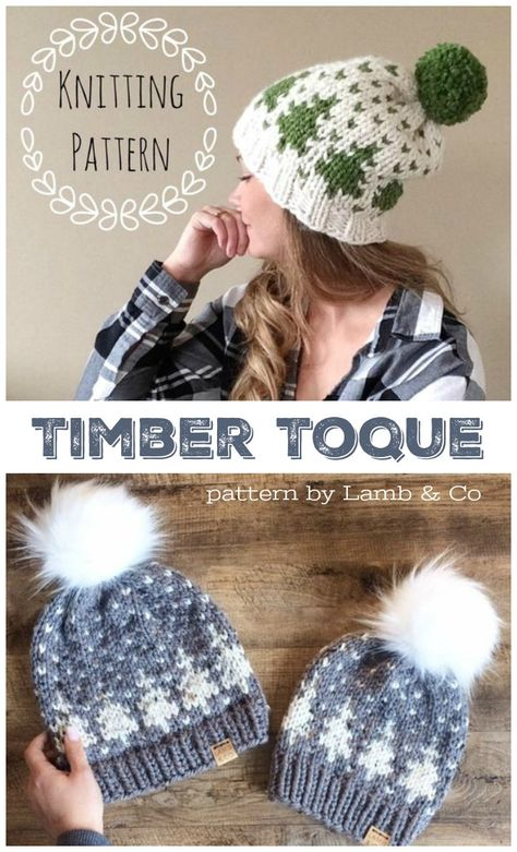 I love the fair isle pattern on this chunky hat knitting pattern with this Christmas tree colour work! So lovely! Perfect slouchy beanie toque, nice and warm for winter. #knittingpattern #knitting #pattern #beanie #knitbeanie #toque #pdf #winterhat #crafts #yarn #diy #craftevangelist