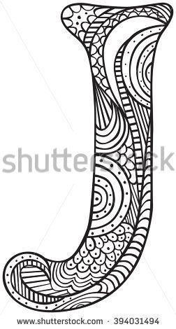 Image Result For Zentangle Letter J Tribal Tattoos Letter J Zentangle