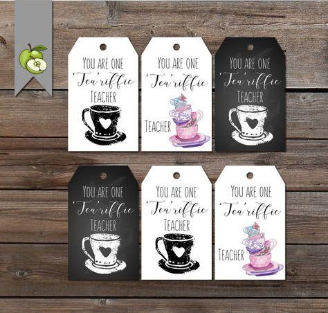 Teacher gift tags, Tea riffic teacher, Thank you, tea, preschool, Teacher gift tags, printable, instant download, Gift tags for teacher