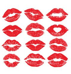 Lipstick Kiss Print Isolated Big Set Red Vector In 2020 Retro Vector Red Lipstick Kisses Emoji Love