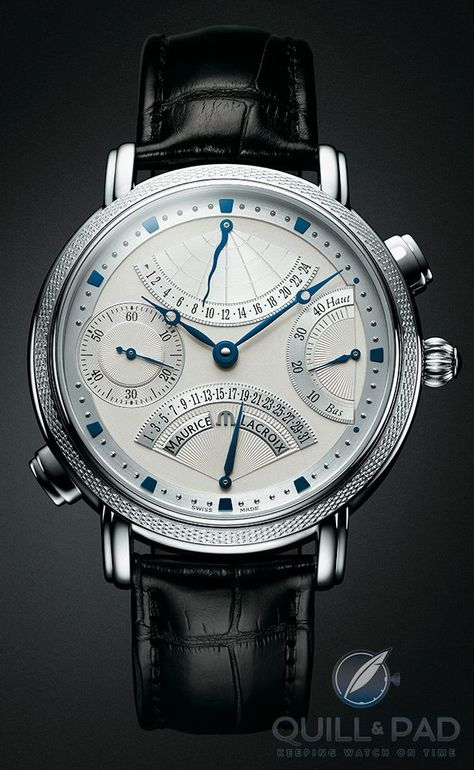 The limited-edition platinum version of the original Masterpiece Double Retrograde by Maurice Lacroix