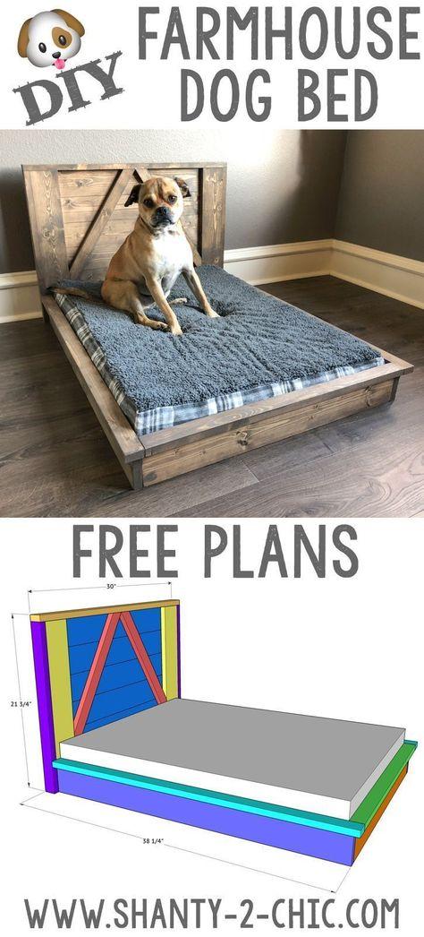 DIY Farmhouse Dog Bed doggy daycare Build this custom DIY Farmhouse Dog Bed with Free plans from www Wood Dog Bed, Pallet Dog Beds, Diy Dog Bed, Dog Bed From Pallets, Large Dog Bed Diy, Homemade Dog Beds For Large Dogs, Small Dog Beds, Small Dogs, Diy Vanity