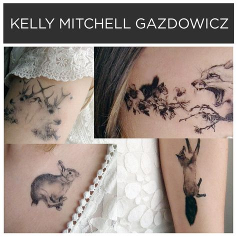 Woodland animals by Kelly Mitchell Gazdowicz. | 15 Incredible Artists Who Will Change Your Mind About Temporary Tattoos