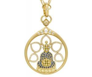 18K Buddha Pendant with Blue Sapphires and Diamonds