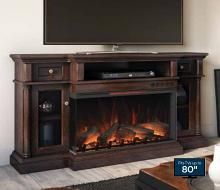 68 Cherry Hill Espresso Tv Stand Infrared Electric Fireplace