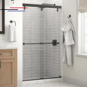 Delta Lyndall 48 X 71 1 2 In Frameless Mod Soft Close Sliding Shower Door In Bronze With 1 4 In 6mm Clear Glass Sd3442231 The Home Depot Slidingshowerd