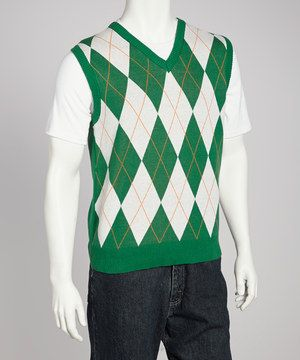 This Green & White Argyle Sweater Vest - Men by Donegal Bay is ...