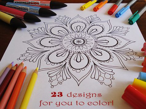 Free printable Mandala pages for coloring. Perfect for a rainy day or math lesson.