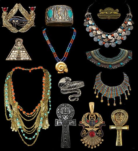 This is Egyptian jewelry that has strong religious symbols. It was made out of gold, and it has unique and beautiful colors to design the pieces.