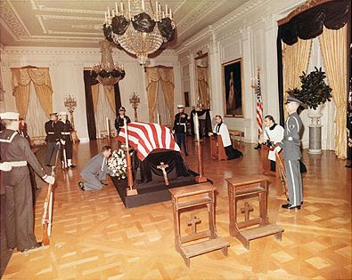 President Kennedy's body lay in repose in the East Room of The White House on Saturday, November 23, 1963. This was the private time for the family before the lying in state for the public at The Capitol the next day.