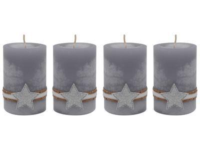 4 Adventskerzen Kerzen Stumpenkerzen Grau Stern Silber Weihnachten