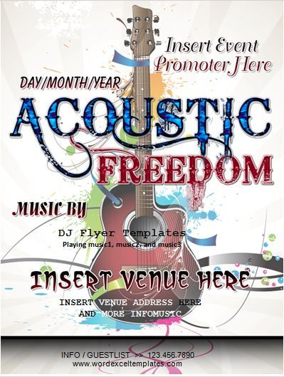 Acoustic Freedom Music Event Flyer Template Word Business