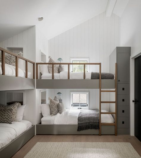 Bedroom Ideas - This modern bedroom has been furnished with custom-designed bunk beds. Each bunk bed has a built-in shelf at the head of the bed, and a minimalist wood ladder for easy access. Modern Bedroom, Home, House Rooms, Bedroom Design, Bed, Bunks, House Interior, Farmhouse Style House, Bunk Beds Built In