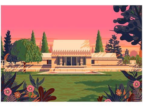 Hollyhock House george townley hollyhock house editorial illustrator graphic art vintage sunset house design modern digital art california frank lloyd wright photoshop design los angeles graphic design illustration architecture