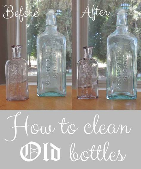 To Clean Old Bottles The Quick And Easy Way! How to clean old bottles the quick and easy way!How to clean old bottles the quick and easy way! Deep Cleaning Tips, House Cleaning Tips, Cleaning Solutions, Cleaning Hacks, Cleaning Checklist, Cleaning Products, Antique Bottles, Vintage Bottles, Bottles And Jars
