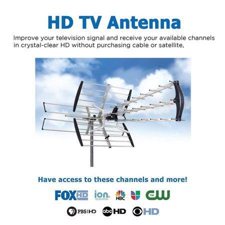 Leadzm Digital 180 Mile HDTV 1080P Outdoor Amplified HD TV 1080P Antenna UHF