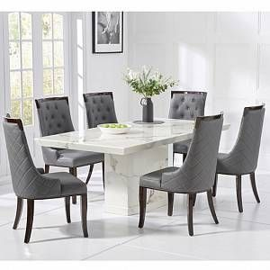 Hamlet Marble Dining Table In White With 4 Tulip Chairs Furniture In Fashion In 2020 Dining Table Marble Marble Dining Table Set Gray Dining Chairs