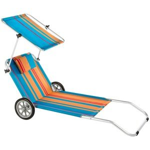 Source Portable Foldable Sunbed Sun Lounger With Canopy And Wheels