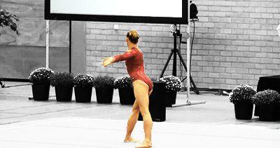 Ksenia Afanasyeva's Double Turn On Leg At Horizontal To Stag Jump (GIF) « WOGymnastika