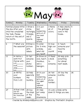 May Homework Calendar For Kindergarten  Homework Calendar