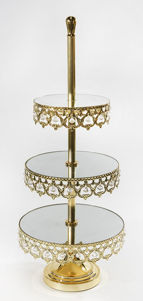 Crown 3 Tier Dessert Stand With Mirror Top Opulent Treasures Tiered Dessert Stand Mirror Tops Opulent Treasures