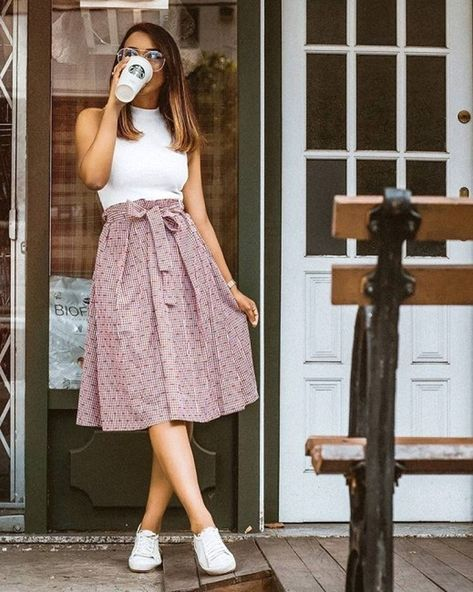 Blush pink midi skirt with white sneakers and a simple white sleeveless top. Can… Blush pink midi skirt with white sneakers and a simple white sleeveless top. Can you beat this simple … just going to get coffee & # look.