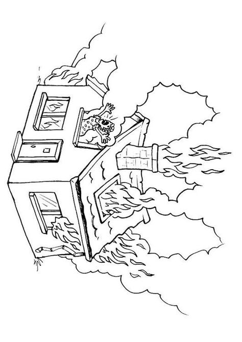 Coloring Page House On Fire Coloring Picture House On Fire Free