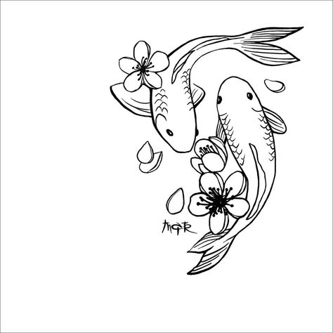 this is a 'simplified' version of my Koi tat, [link] for more tattoo designs, check out [link] . Koi Tattoo Design, Simple Tattoo Designs, Tattoo Simple, Koi Fish Drawing, Fish Drawings, Cool Art Drawings, Mosaic Drawing, Whale Drawing, Drawing Step