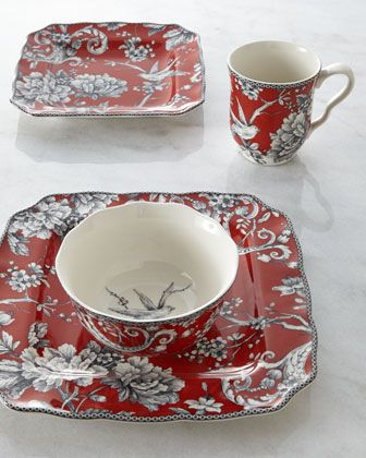 Adelaide Red Dinnerware Service at Horchow.