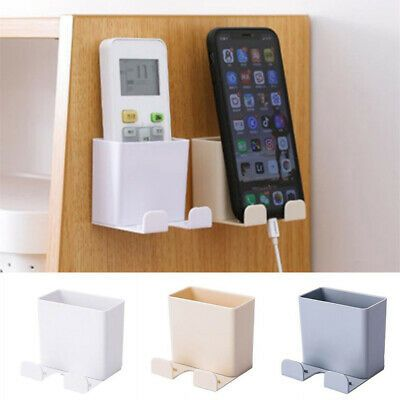 Wall Mounted Tv Remote Control Storage Box Cellphone Rack Stand Home Organizer In 2020 Remote Control Holder Remote Control Storage Storage Rack
