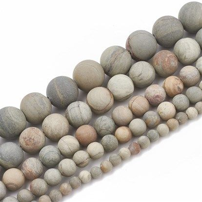 China Factory Natural Silver Leaf Jasper Beads Strands Frosted Round 12mm Hole 1 5mm About 30pcs Strand 15 5 In Bulk Online Jasper Beads Bead Strand Silver Leaf