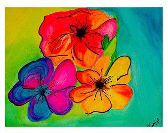 Aquarelle Revisitee Representant Un Bouquet De Fleurs Stylisees