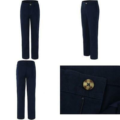 Bienzoe Big Girls School Uniforms Cotton Stretchy Slim Adjustable Waist Pants