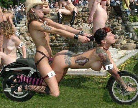 chicks topless biker Hot