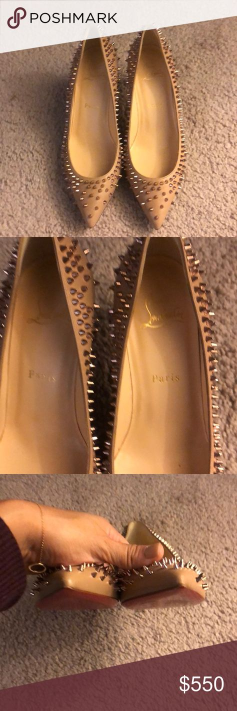 Christian Louboutin Pumps Christian Louboutin tan/beige pumps in size 37 and rose gold studs. I only worn them once, they are in great condition aside from some wear on the sole and two missing studs in the back of the right shoe (see pictures). Christian Louboutin Shoes Heels