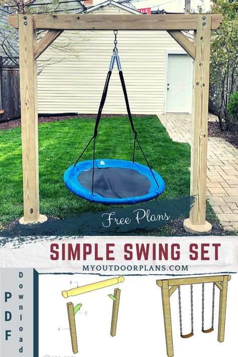 This step by step diy woodworking project is about simple swing set plans. The project features instructions for building a wooden swing set with a minimalist design. Backyard Swings, Backyard Playground, Backyard For Kids, Backyard Projects, Kids Yard, Patio Decks, Play Yard, Kids Outdoor Play, Kids Play Area