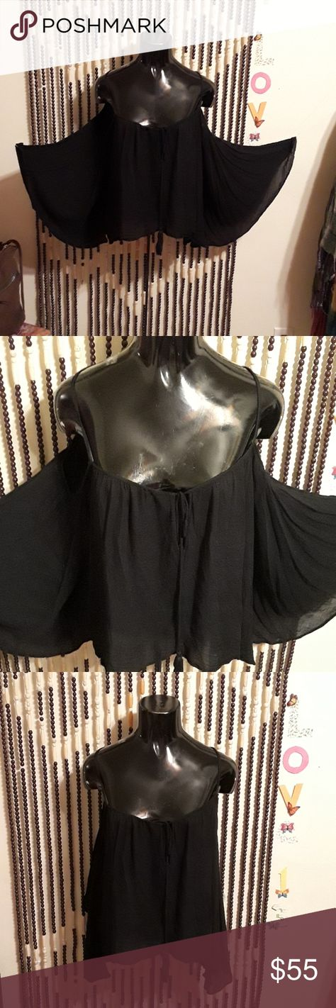 """Chic """"Cotton Candy"""" Top Black, shoulders out, with fly arms, loose comfy Chic look, 100 % Rayon, sixe small, however may look good up to a large size. Used so normal wear,  tear,  dirt or stain if you find any I missed.... Cotton Candy Tops"""