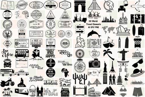 101 World Travel Elements Vector Bundle AI EPS PNG (271581)   Illustrations   Design Bundles