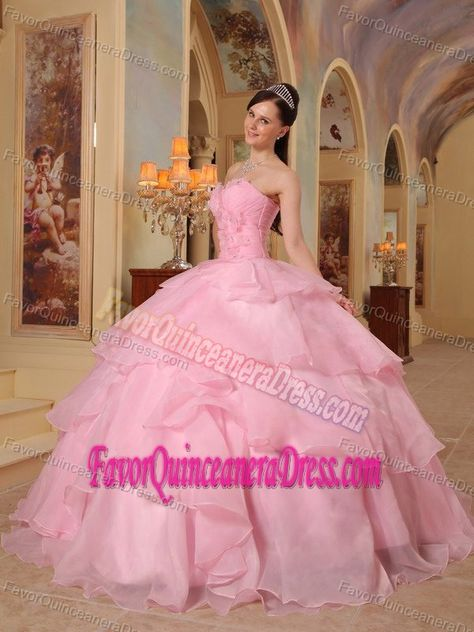 6c63f1259 Stylish Pink Sweetheart Floor-length Quinceanera Dresses in Organza ...