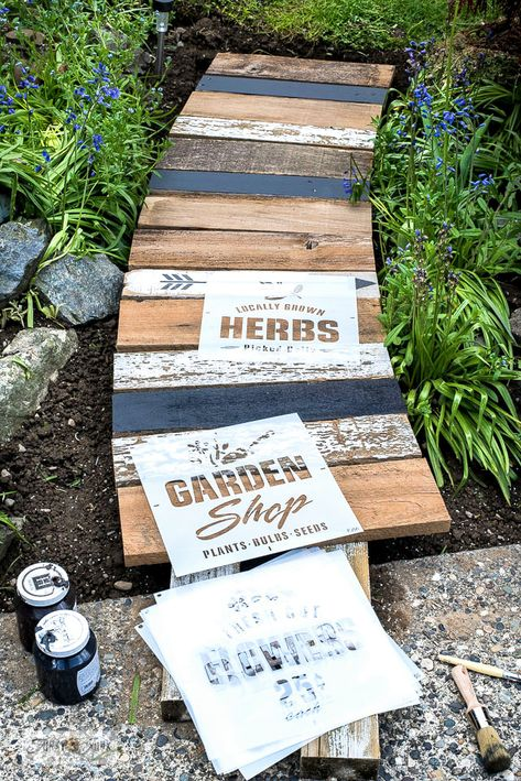 Learn how to build this easy and beautiful garden-themed reclaimed wood walkway with scrap wood and stencils! Easy to customize! Garden In The Woods, Lawn And Garden, Outdoor Projects, Garden Projects, Wood Walkway, Chicken Garden, Garden Signs, Garden Shop, My Secret Garden