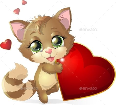 kitten and heartkitten with heart among the flowers, on a white background