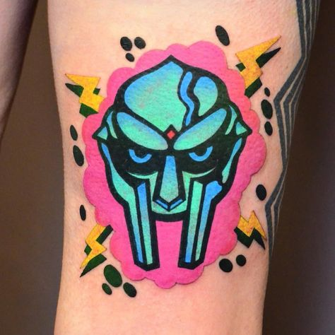 MF DOOM tattoo by Ian Haight at Sideshow alley in Portland, OR