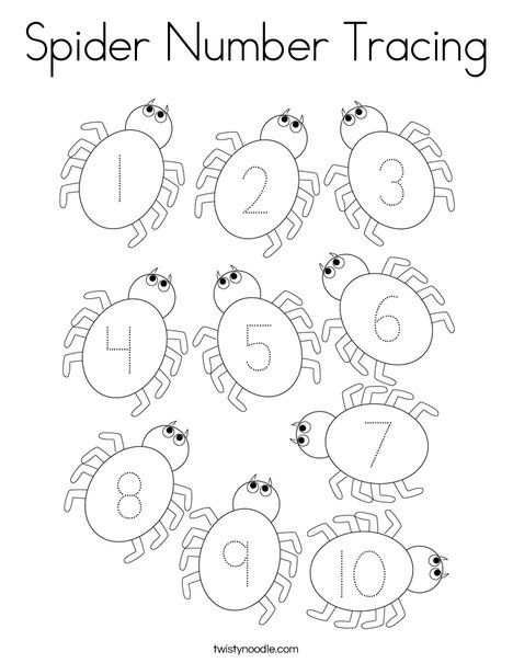Spider Number Tracing Coloring Page Twisty Noodle The Very Busy Spider Number Tracing Coloring Pages
