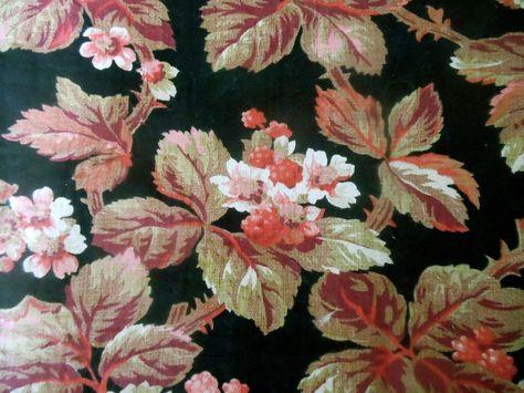 Antique 19thc Cottage Violet Daisy Floral Cotton Fabric ~ Blush Pink Tan Sage