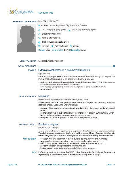 Cv Template Italiano Curriculum Vitae