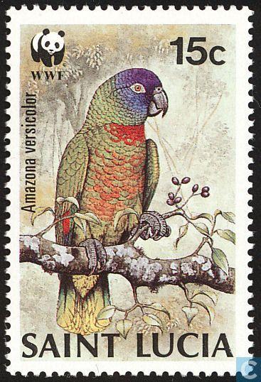 Stamps - Saint Lucia - WWF-Birds 1987